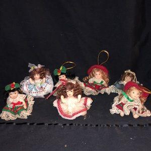 Seven Porcelain Doll Ornaments